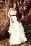 Schöne Braut, die an der Natur aufwirft Stockbilder