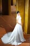 Schöne Braut, die nahe Pfosten aufwirft Stockbilder