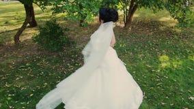 Schöne Braut in einem Stadtparkpark stock video