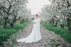 Schöne Braut in einem Weinlesehochzeitskleid, das in einem blühenden Apfelgarten aufwirft Set von 9 Abbildungen der wundervollen  Lizenzfreie Stockfotografie