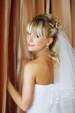 Schöne Braut im Hochzeitstag stockbilder