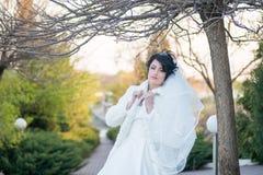 Schöne Braut im Vorfrühling unter dem Baum Stockfotografie