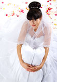 Schöne Braut mit den rosafarbenen Blumenblättern Lizenzfreie Stockfotografie