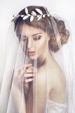 Schöne Braut mit Modehochzeitsfrisur - auf weißem Hintergrund stockfoto