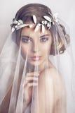 Schöne Braut mit Modehochzeitsfrisur - auf weißem Hintergrund lizenzfreie stockfotos