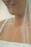 Schöne Braut-Nahaufnahme mit Schleier und Halskette Stockbild