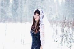 Schöne Braut unter Schleier auf weißem Schneehintergrund Stockbild