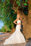 Schöne Brautblondine unter dem Baum zur Flussbank auf einem bea Stockfotografie