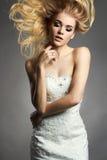 Schöne Brautfrau im Hochzeitskleid Lizenzfreie Stockfotografie