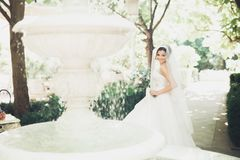 Schöne Brunettebraut im eleganten weißen Kleid, das den Blumenstrauß aufwirft ordentliche Bäume hält stockbilder