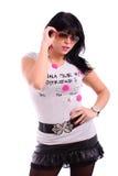Schöne Brunettefrau mit Sonnenbrillen Stockbilder