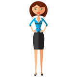 Schöne Brunettegeschäftsfrau, die flache Karikaturvektorillustration steht EPS10 Getrennt auf einem weißen Hintergrund Lizenzfreies Stockfoto