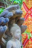 Schöne Buddha-Statue gemacht vom Sandstein und -abdeckung mit Nagaköpfen Stein-Buddha-Statue mit sieben Phaya-Naga geht voran Sto Stockfotografie