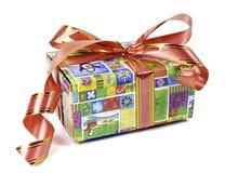 Schöne bunte Geschenkbox mit Bögen Stockfotos