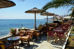 Schöne Cafeteria am Strand Stockfotos