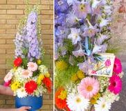 Schöne Collage eines stilvollen Sommerblumenstraußes Arbeit in einem Blumenladen stockfotos