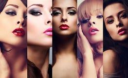 Schöne Collage von emotionalen Frauen des sexy hellen Makes-up mit heißem stockfotografie