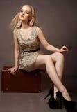 Schöne Dame, die oh ihren braunen Koffer sitzt Stockfotografie