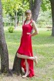 Schöne Dame im Rot Stockbilder