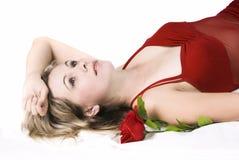 Schöne Dame im roten Kleid Lizenzfreies Stockbild