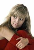 Schöne Dame im roten Kleid Lizenzfreie Stockfotografie