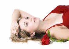 Schöne Dame im roten Kleid Stockfoto