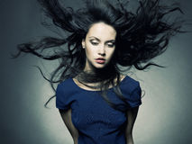 Schöne Dame mit dem ausgezeichneten dunklen Haar Lizenzfreies Stockbild