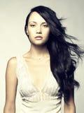 Schöne Dame mit dem ausgezeichneten Haar Stockfoto