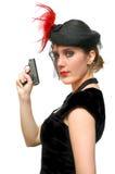 Schöne Dame mit Gewehr Lizenzfreies Stockbild