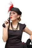 Schöne Dame mit Gewehr Stockfoto