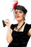 Schöne Dame mit Gewehr Stockfotos