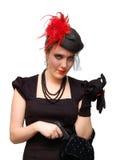 Schöne Dame mit Gewehr Lizenzfreie Stockbilder