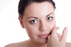 Schöne Dame mit grünen Augen Lizenzfreie Stockfotografie