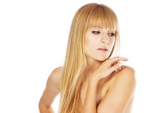 Schöne Dame mit vollkommener Haut, Studioportrait Lizenzfreie Stockfotos