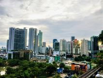 Schöne Draufsicht Thailand mit modernen Gebäuden von Stadtbild lizenzfreie stockfotos
