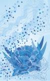 Schöne dunkelblaue Pfingstrose auf einem blauen Hintergrund stockbild