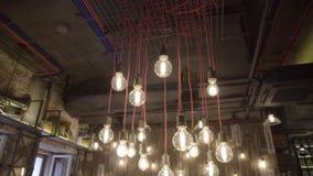 Schöne Edison-Lampen stock footage