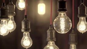 Schöne Edison-Lampen stock video