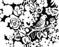 Schöne einfarbige, Schwarzweiss-Blume lokalisiert Von Hand gezeichnete Tiefenlinieanschläge Lizenzfreie Stockfotografie