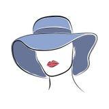 Schöne elegante Dame im blauen breitrandigen Hut Vector die Figurine in der Hand, die Art für Ihr Design zeichnet Stockfoto