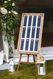 Schöne elegante stilvolle Hochzeitsgast-Tabellenliste Lizenzfreie Stockfotografie