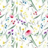 Schöne empfindliche helle gelbe rosarote violette purpurrote blaue mit BlumenRittersporen rosafarben und Kornblumemuster mit den  stock abbildung