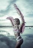 Schöne Engelsfrau mit rosa Flügeln Stockfotografie
