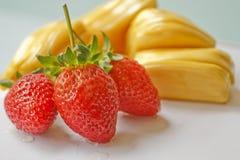 Schöne Erdbeeren und Steckfassungsfrucht Stockfoto