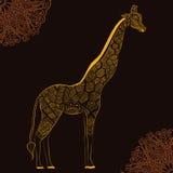 Schöne erwachsene Giraffe Hand gezeichnete Abbildung Stockfotografie