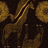 Schöne erwachsene Giraffe Hand gezeichnete Abbildung Stockfotos