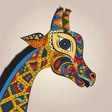 Schöne erwachsene Giraffe Hand gezeichnete Abbildung Stockfoto