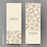 Schöne Fahnenvektorschablone mit abstraktem mit Blumenhintergrund stock abbildung