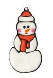 Schöne Feiertags-Abbildung mit Winter-Landschaft und Schneemann im Hut Stockfotografie