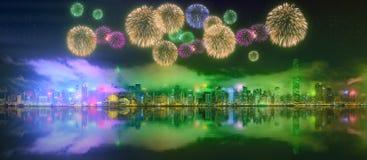 Schöne Feuerwerke in Hong Kong stockbild